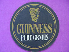 """Cool BEER COASTER ~*~ GUINNESS BREWERY Stout ~*~ """"Pure Genius"""" ~ Dublin, Ireland"""
