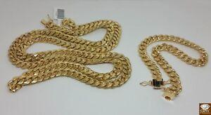 Real 10k Yellow Gold Miami Cuban link Bracelet Genuine 100% 10k Gold 8mm Mens