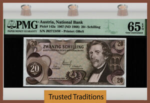 TT PK 142a 1967 AUSTRIA NATIONAL BANK 20/-SCHILLING PMG 65 EPQ GEM UNCIRCULATED!