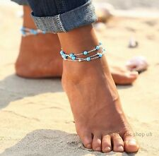 Ankle Bracelet -TRIPLE 3 CHAIN TURQUOISE BEADED - Beach Jewelry Foot Jewellery
