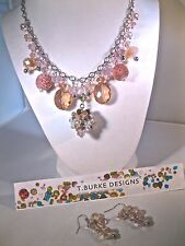 """LOVELY """"PINKS & SILVER"""" NECKLACE-HANDCRAFTED IN USA-BEAUTIFUL FREE MATCHING EAR!"""
