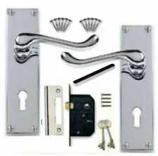 Lever Lock Door Handles + 2 Lever Lock Set Polished Chrome Scroll Victorian (KA)