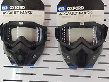 Oxford Assault Mask Goggles Motorcycle Motorbike Open Face Protection - Black