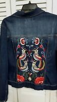Artisan NY Brand Women's Denim Blue Jean Jacket With Embroidery Size Ex Large
