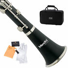 MENDINI BLACK EBONITE Bb CLARINET W/ CASE,CARE KIT,11 REED FOR STUDENT, BEGINNER