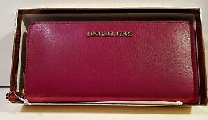 "Michael Kors - ""Zip Around Continental Wallet Leather Magenta""  / Gift Box"