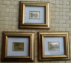 3 x Framed Miniature Print Oro Foglia ARTITALIA