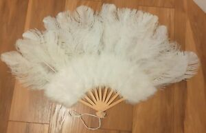Large White Ostrich and Marabou Feather Fan Burlesque Theatre BRAND NEW FAN