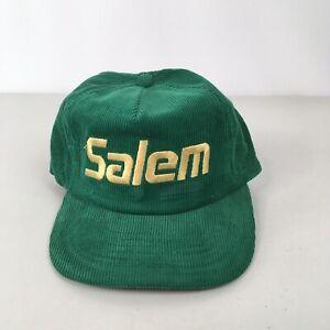 Vtg Salem Cigarettes Green Corduroy Ball Cap Adjustable Hat - NOS