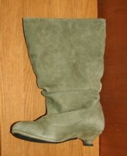 Unusual Artisan Olive Green Suede Boots Size 6 Tiny Louis Heel by J. Shoes
