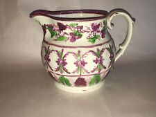Staffordshire Pink Luster Green Enamel Pitcher Ca. 1820's Unusual