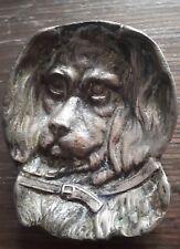 ancienne coupe vide poche cendrier forme Tête chien dog bronze doré Art Nouveau