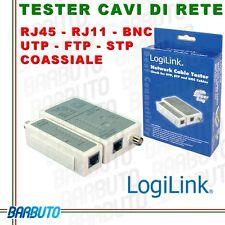 TESTER CAVO DI RETE Lan Ethernet e BNC RJ45 RJ11 UTP FTP SFTP S-FTP BNC LOGILINK