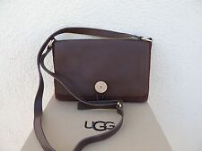 UGG LODGE BROWN BAILEY BUTTON MESSENGER LEATHER/ SUEDE SHOULDER PURSE, NWT