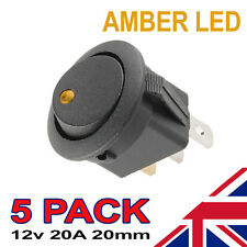 5 x Amber LED On/Off Black Round Rocker Switch Car Automotive 20mm SPST Boat
