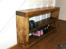 Solid Wood Shoe Rack Shoe Storage Chunky Rustic Traditional Farmhouse Dark Oak