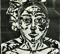 Mirja Rush (XX/XXI) seltener Holzschnitt 1996: CHARAKTER-KÖPFE - Nr. 2 VON NUR 7