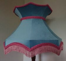 Pale blue velvet lampshade crown shaped lined pink for standard lamp or ceiling