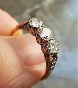 18ct GOLD PLATINUM 3 STONE DIAMOND RING. TRILOGY. ENGAGEMENT. Ref:dfodmx