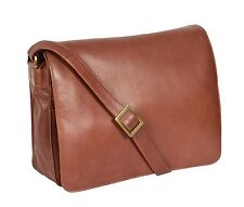 Working Womens BROWN Leather Shoulder Bag A4 Large Messenger Cross body Bag