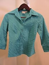 Como Petite Polyester Blend 3/4 Sleeve Button Down Blouse Size - Petite Small