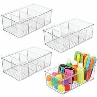 mDesign Plastic Craft & Sewing Storage Organizer Bin Box - 4  Sections - Clear