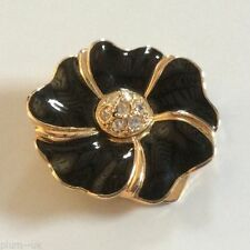 Yellow Gold Plated Black Costume Brooches & Pins