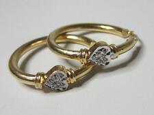 """Elegant 14K Solid Yellow Gold Diamond Set Heart Hoop Earrings 1 &1/8"""" Hoops"""