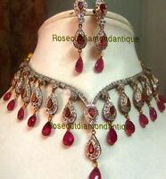 VICTORIAN LOOK 16.50ct ANTIQUE ROSE CUT DIAMOND SILVER WEDDING RUBY NECKLACE SET