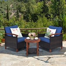 3Pcs Patio Wicker Rattan Conversation Set Outdoor Furniture Set w/ Cushion