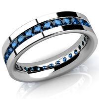 Herren Memory Diamant Brillant Ring 2,00 ct. blaue Diamanten 585 Weißgold 14K