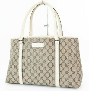 Authentic GUCCI Brown GG Canvas Leather Tote Shoulder Bag Purse #37489