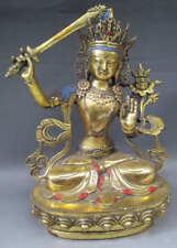 "11.4"" Old Tibet Tibetan Gold Gilt Bronze Manjushri Bodhisattva Statue"
