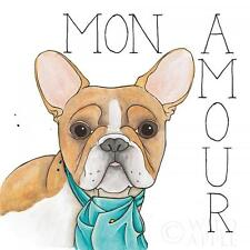 "FRENCH BULLDOG DOG POSTER ART PRINT ""Mon Amour"" FRENCHI BOULEDOGUE FRANCAIS"
