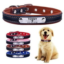 Adjustable Personalized Dog Collar Leather Puppy ID Name Custom Engraved XS-L