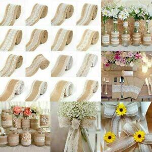 5M Wedding Jute Burlap Hessian Ribbon Lace Trims Tape Party Table Supplies Decor