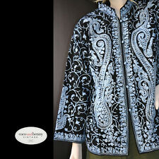 *Kashmiri WoolMix Embroidered Black with Sky Blue Jacket Cotton Lined S/M UNWORN