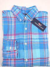 NWT VINEYARD VINES Size S Men's L/S Keel Blue Plaid Linen SLIM FIT MURRAY Shirt