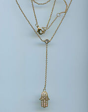 16 TO 18 INCH YELLOW GOLD PLATED PAVE CZ HAMSA Y CHOKER PENDANT NECKLACE