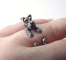 Cute Vintage Silver Adjustable Unique Schnauzer Dog Animal Wrap Ring Nickel Free