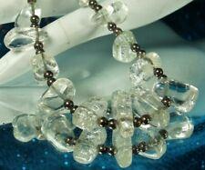 """ROCK CRYSTAL QUARTZ Necklace Vintage 1970s STERLING Silver Beads 17"""" Adjustable"""
