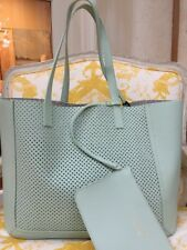 NWT Vittoria Napoli Italy Leather Tiffany Mint Laser Perforated Bag Tote Seafoam