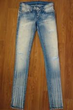 Rock & Republic Womens Jeans Lgt Blue Wash w White Stripe Distressed Straight 25