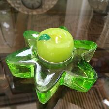 Floral  Green Glass Tealight Tea Light Holder with Apple Candle