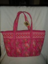 GAL QUILTED PINK PRINT COTTON FABRIC DESIGN SHOULDER TOTE BAG/PURSE NEW W/T
