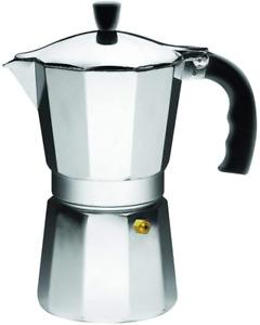 ALUMINUM STOVETOP MOKA Espresso Coffee Pot Maker Percolator 1/3/6 Cup SILVER NEW