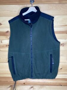 Cabelas Fleece Wind Shear Lined Vest Green Black Full Zip Size L