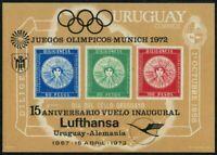 Uruguay 771A/black overprint,MNH.Michel Bl.15. Olympics Munich-1972,Lufthansa.