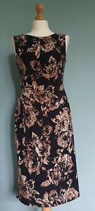Phase Eight Black, Brown and White Floral Design Bodycon Ladies Dress Size 12