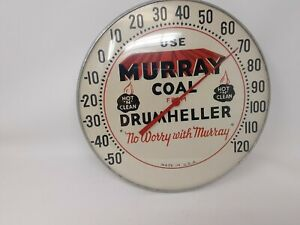 """USE MURRAY COAL FROM DRUMHELLER 12"""" Round Advertising Thermometer Glass Dome"""